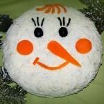 слоеный салат снеговик