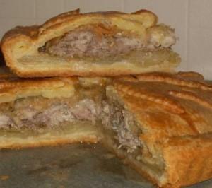 пирог с телятиной из слоеного теста