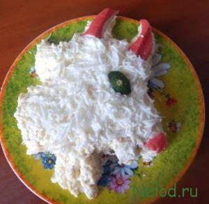 Новогодний салат Коза