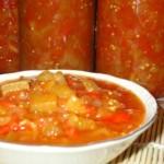 Икра из баклажанов с болгарским перцем, помидорами и яблоками