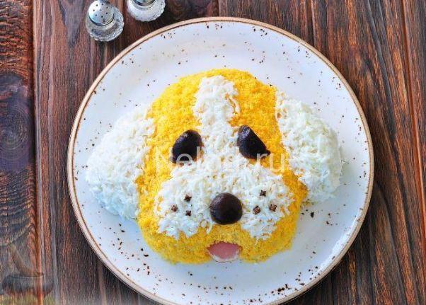 Салат желтая собака новый год