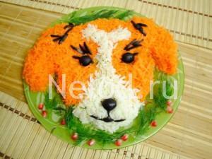 Крабовый салат в виде собаки